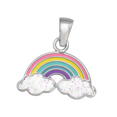 Children's Silver Rainbow Pendant with Epoxy