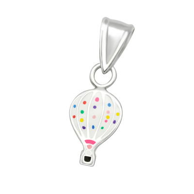 Children's Silver Hot Air Balloon Pendant with Epoxy