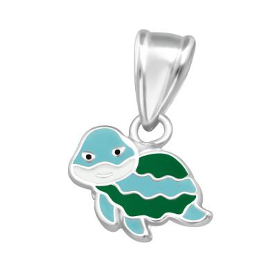 Children's Silver Turtle Pendant with Epoxy