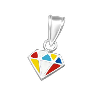 Children's Silver Diamond Shaped Pendant with Epoxy