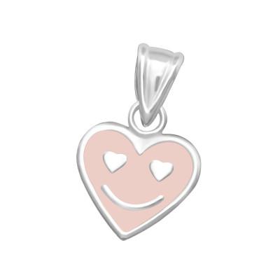 Children's Silver Heart Pendant with Epoxy