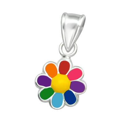 Children's Silver Flower Pendant with Epoxy