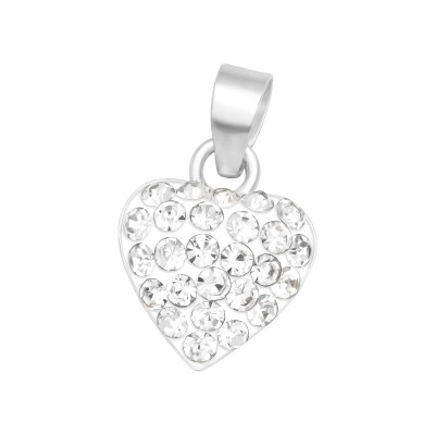 Children's Silver Heart Pendant with Crystals
