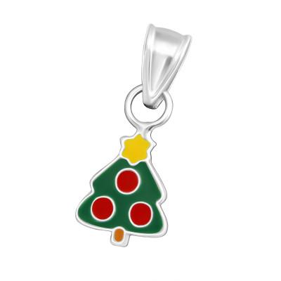 Children's Silver Christmas Tree Pendant with Epoxy