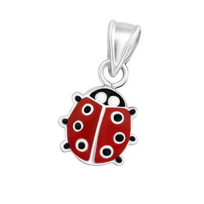 Children's Silver Ladybug Pendant with Epoxy