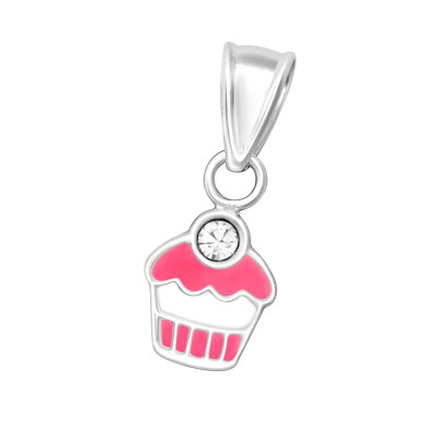 Children's Silver Cupcake Pendant with Crystal and Epoxy