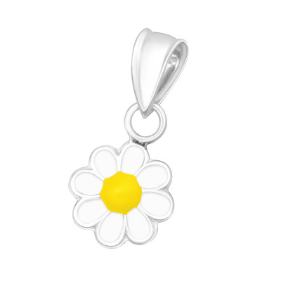 Children's Silver Daisy Pendant with Epoxy