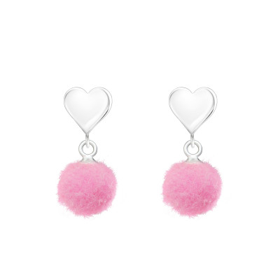 Children's Silver Heart Ear Studs with Hanging Pom Pon