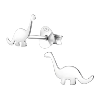 Children's Silver Dinosaur Ear Studs