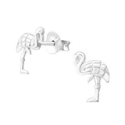Children's Silver Flamingo Ear Studs