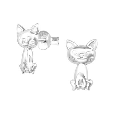 Children's Silver Cat Ear Studs