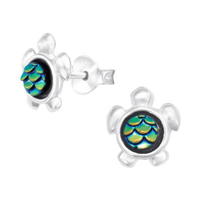 Children's Silver Turtle Ear Studs with Resin Fish Scale