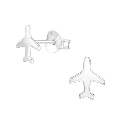 Silver Plane Ear Studs