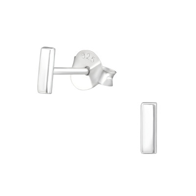 Silver Bar Ear Studs