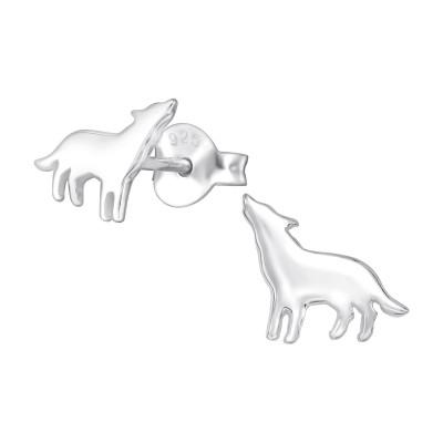 Children's Silver Wolf Ear Studs
