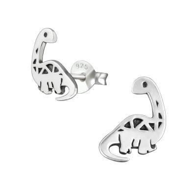 Children's Silver Dinosaur Ear Studs