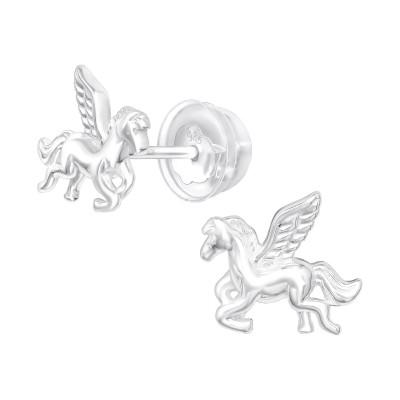 Premium Children's Silver Pegasus Ear Studs