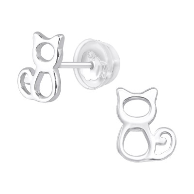 Premium Children's Silver Cat Ear Studs