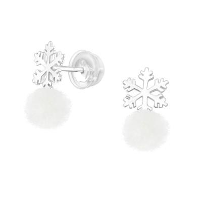 Premium Children's Silver Snowflaket Ear Studs with Hanging Pom Pom