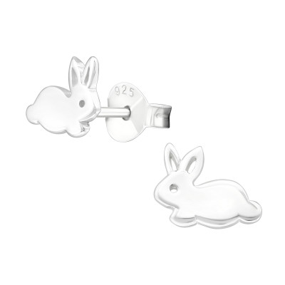 Children's Silver Rabbit Ear Studs