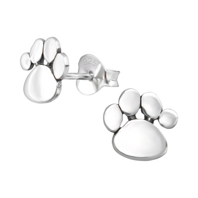 Children's Silver Paw Print Ear Studs