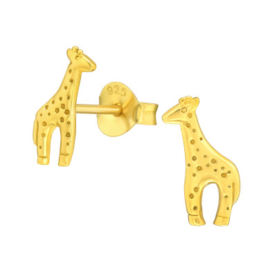 Children's Silver Giraffe Ear Studs
