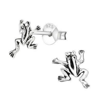 Children's Silver Frog Ear Studs
