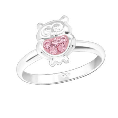 Children's Silver Owl Adjustable Ring with Crystal