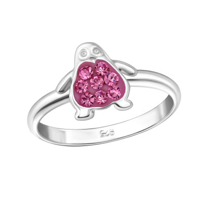 Children's Silver Penguin Ring with Crystal