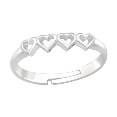 Children's Silver Heart Adjustable Ring