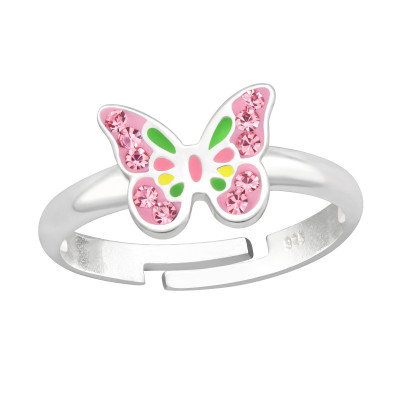Children's Silver Butterfly Adjustable Ring with Crystal and Epoxy