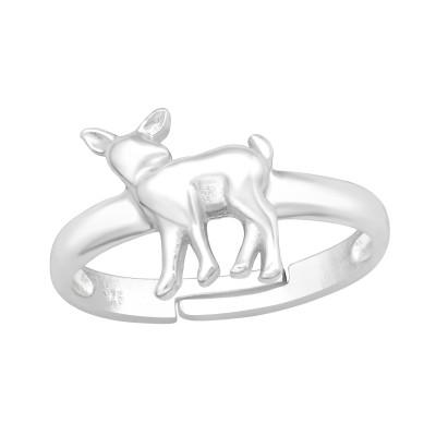 Children's Silver Deer Adjustable Ring