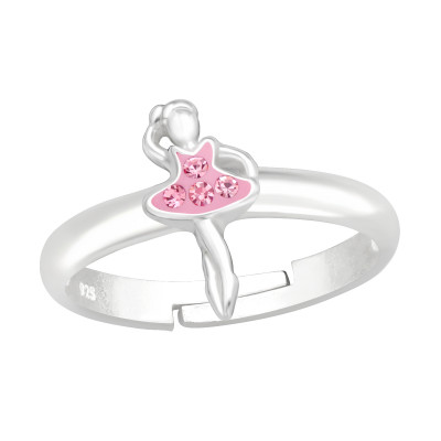 Children's Silver Ballet Adjustable Ring with Crystal