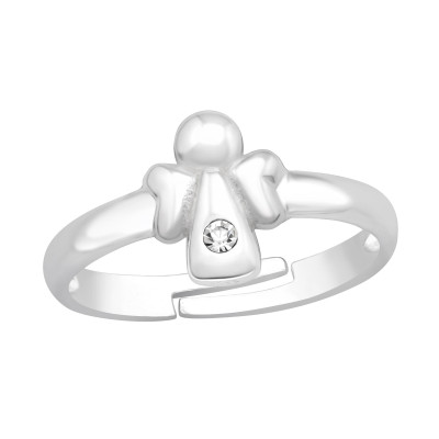Children's Silver Angel Adjustable Ring with Crystal
