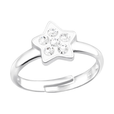 Children's Silver Star Adjustable Ring with Crystal