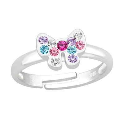 Children's Silver Ribbon Bow Adjustable Ring with Crystal