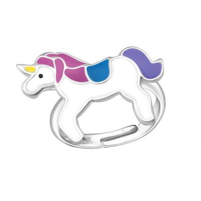 Children's Silver Unicorn Adjustable Ring with Epoxy