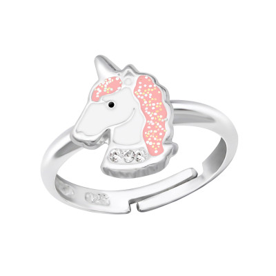 Children's Silver Unicorn Adjustable Ring with Crystal and Epoxy