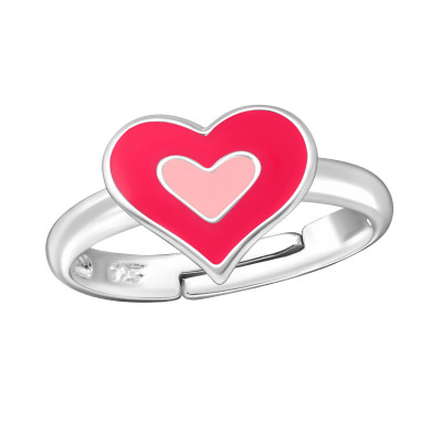 Children's Silver Heart Adjustable Ring with Epoxy