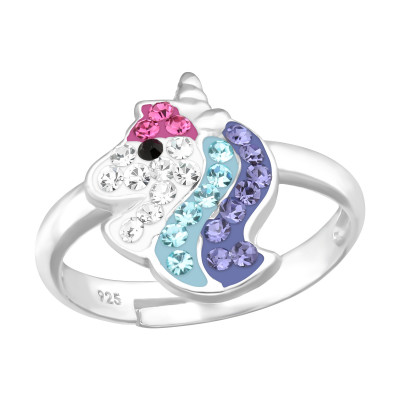 Children's Silver Unicorn Adjustable Ring with Crystal