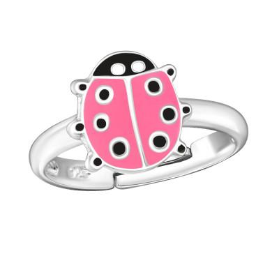 Children's Silver Ladybug Adjustable Ring with Epoxy
