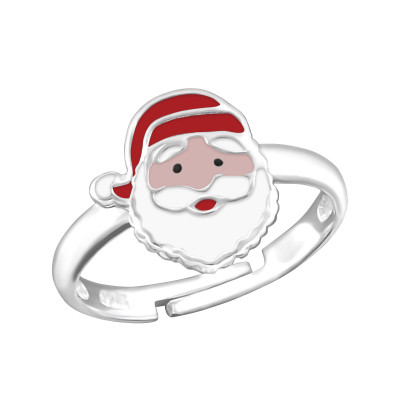 Children's Silver Santa Claus Adjustable Ring with Epoxy
