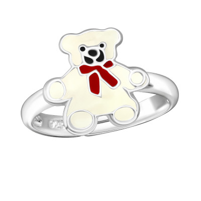Children's Silver Bear Adjustable Ring with Epoxy
