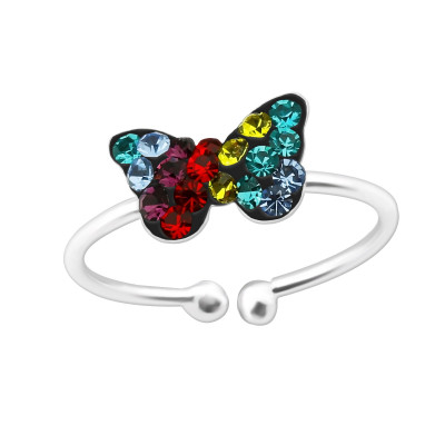 Children's Silver Butterfly Adjustable Ring with Crystal