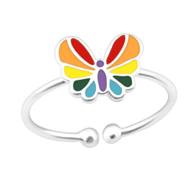 Children's Silver Butterfly Adjustable Ring with Epoxy