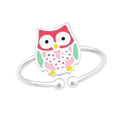 Children's Silver Owl Adjustable Ring with Epoxy