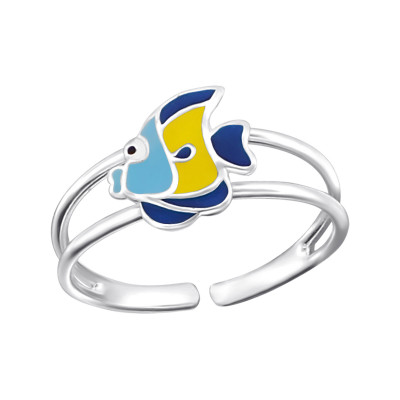 Children's Silver Fish Ring with Epoxy