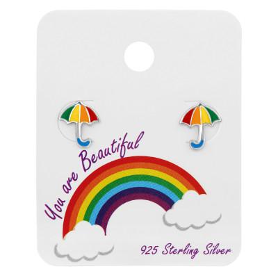 Silver Umbrella Ear Studs with Epoxy on Rainbow Card