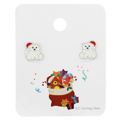 Silver Santa Polar Bear Ear Studs with Epoxy on Christmas Stocking Card