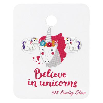 Silver Unicorn Ear Studs with Epoxy on Believe in Unicorn Card